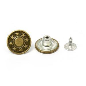 Джинс.пуговица 17 мм 8 звезд антик (уп.1000шт)