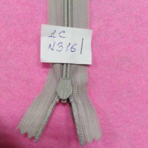 Молния потайная №3 50см ДС-316 светло-серый