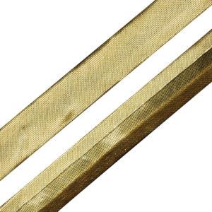 Косая бейка 16 мм 100 м металлизированная (под золото)