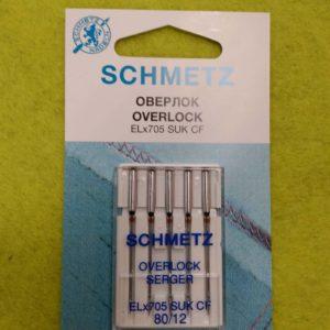 Игла Schmetz SUK SF ELx705  №80 (5 шт/уп) (плоскошовка)