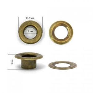 Люверсы №4 (6мм) антик (уп-5000шт)
