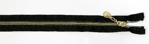 Молния спираль декоративный №7 звено, 60 см, золото с черной прошивкой