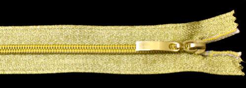 Молния спираль №5 70 см, тесьма и звено, золото