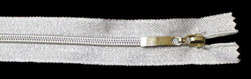 Молния спираль №5 20 см, тесьма и звено, серебро