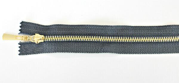 Молния декоративная №5 «под джинсу» звено-декоративное золото, 20 см, синяя тесьма