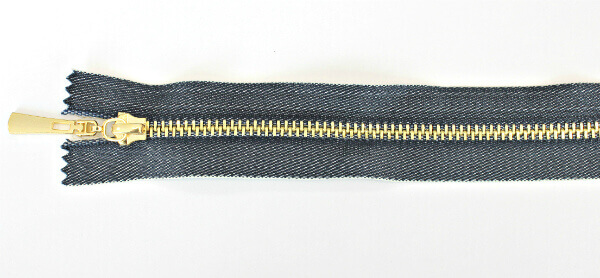 Молния декоративная №5 «под джинсу» звено-декоративное золото, 70 см, синяя тесьма