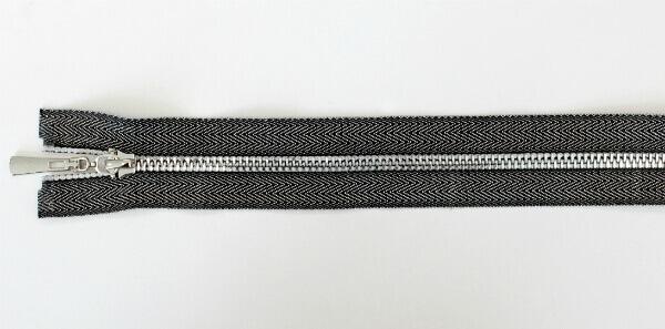 """Молния декоративная №5 """"под джинсу"""" звено-декоративный никель, 60 см, серебристо-черная тесьма"""