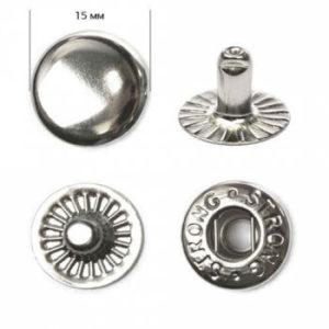 Кнопка рубашечная «Strong» ALFA 15мм  (уп. 720шт.) никель нержавеющие