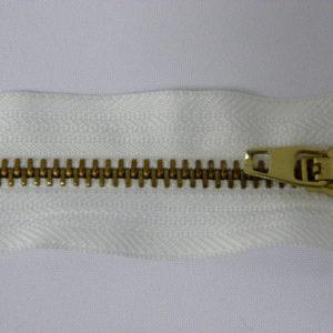 Молния джинсовая латунь тип 5 18 см №001 ДС белый замок