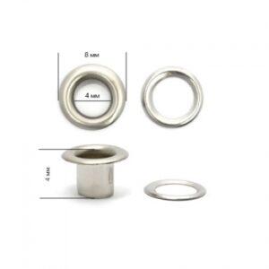 Люверсы №2 (4мм) никель (уп-5000шт) нержавеющие