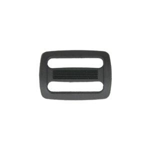 Двухщелевая пряжка 25мм черный ПП (уп. 100шт)