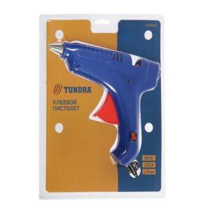 Пистолет клеевой TUNDRA, 80Вт, 220В, выключатель, индикатор, антикапля, шнур 1.2м, 11мм (4365665)