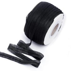 Лента нитепрошивная с усилением по косой с нитью 15 мм, черная, 1 рул-100 м