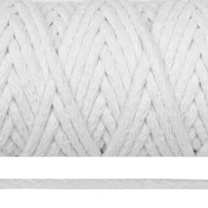 Шнур 5 мм круглый, х/б, белый, рул-50м