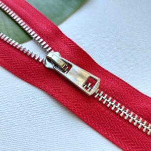 Молния металл титан №5 никель 65см разъем D171 красный
