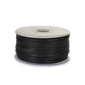 Шнур круглый атласный 2мм цв.3173 черный (уп.50м)