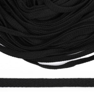 Шнур плоский 10 мм, рул-50м, черный х/б, турецкое плетение
