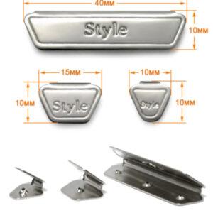 Зажим металл, 15мм (100 шт/упак) никель ГХН1911 лого Style