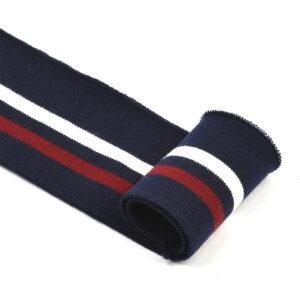 Подвяз трикотажный , темно-синий/белая и бордовая полоски, п/э, 6х80см (TBY.73008)